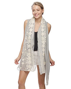 Fashion Secrets Swimwear Cover Up , beach wear , bikini cover up, Chiffon long Vest with Lace