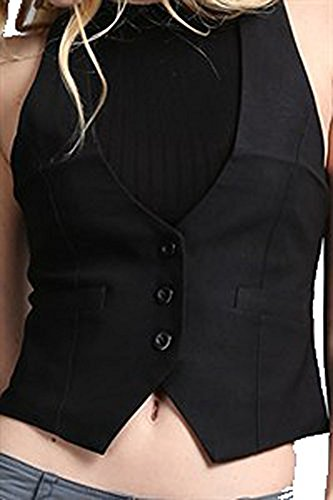 Fashion Secrets Juniors Satin Racerback Waistcoat Black Vest