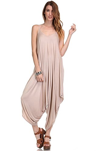 Love Solid Women Harem Overall Summer Spagehtti Straps Jumpsuit Romper (Small, Toasted Almond)