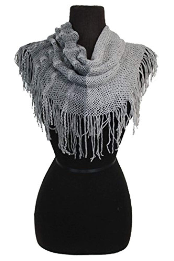 Soft solid & Two Tone Double Print Thing Fringed Loops Scarf
