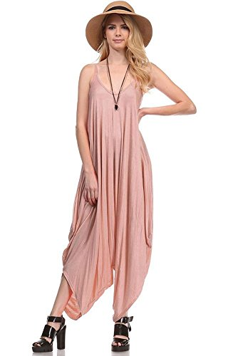 Solid Women Harem Overall Summer Spagehtti Straps Jumpsuit Romper (Medium, Dusty Rose)