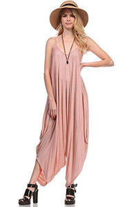 Solid Women Harem Overall Summer Spagehtti Straps Jumpsuit Romper (Large, Dusty Rose)