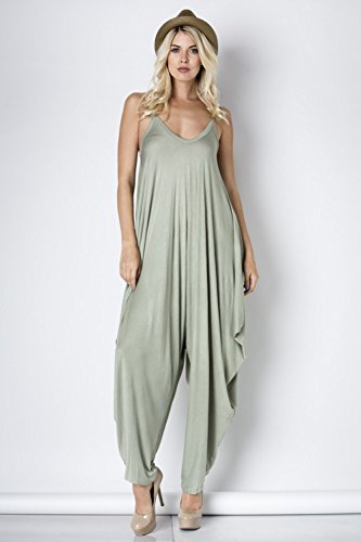 Solid Women Harem Overall Summer Spagehtti Straps Jumpsuit Romper (Small, Sage)