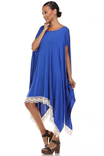 Lace Trim Poncho Top,loose Oversized T Shirt Blue Dress