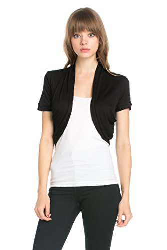 Fashion Secrets Women's Pleated Sides Short Sleeves Rayon Bolero Shrug Cardigan