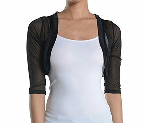 Fashion Secrets Women's Sheer Chiffon Bolero Shrug Jacket Cardigan 3/4 Sleeve - Fashion Secrets