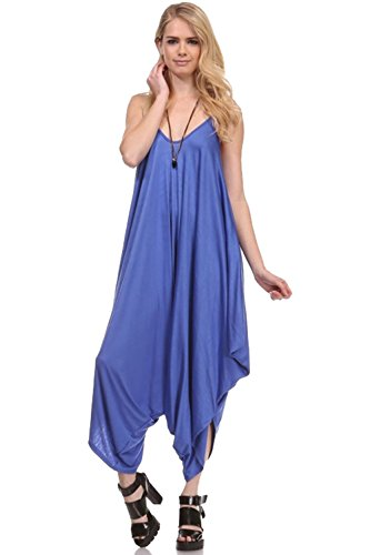 Love Solid Women Harem Overall Summer Spagehtti Straps Jumpsuit Romper (Medium, Blue Berry)