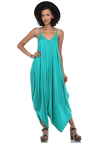 Solid Women Harem Overall Summer Jumpsuit Romper (Large, Bright Jade)
