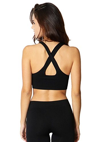 Fashion Secrets Women`s Seamless Criss Cross Back Sports Gym Yoga Activewaer Padded Bra