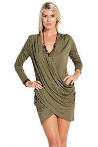Fashion Secrets Women Rayon Long Sleeve Front Draped Tunic Dress