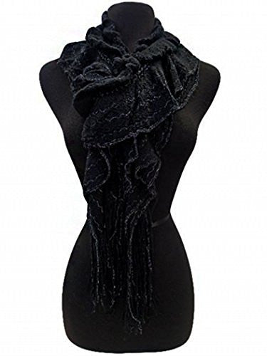 Fashion Secrets Women Ruffled Soft Scarf, Shinny Trimming, Fringed Ends Neck Wrap - Fashion Secrets