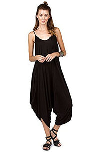 Solid Women Harem Overall Summer Jumpsuit Romper (Small, Black)