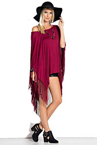 Fashion Secrets Women Fringes Cut Handkerchief Hem Poncho Top