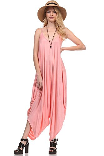 Solid Women Harem Overall Summer Spagehtti Straps Jumpsuit Romper (Large, Rose)