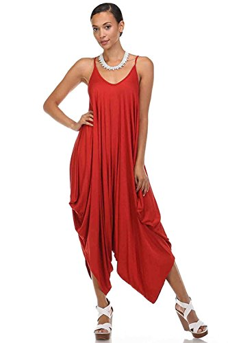Love Solid Women Harem Overall Summer Spagehtti Straps Jumpsuit Romper (Medium, Rust)