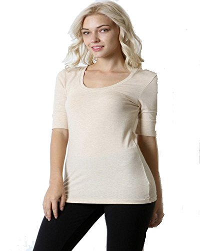 Fashion Secrets 3/4 Juniors Elbow Sleeve Scoop Neck Cotton T- Shirts Basics Top