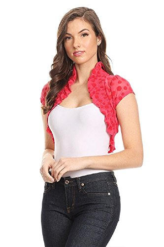 Fashion Secrets Juniors Polka Dots Short Sleeve Lace Bolero Shrug Cardigan