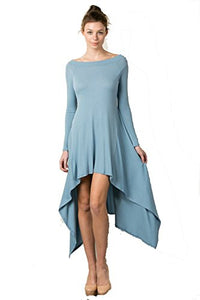 Fashion Secrets Soft Off Shoulder Asymmetrical High Low Long Sleeve Dress