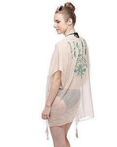 Fashion Secrets Embroidered Cover Up With Tassel