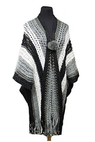Fashion Secrets Women`s Loose Crochet Knit Softness Oversized Poncho Shawl Cape Cardigan Sweater W Fringes Ends.