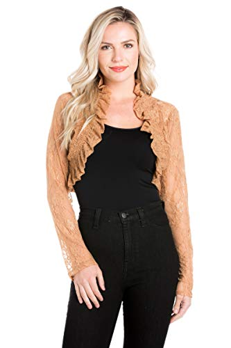 Juniors Long Sleeve Lace Smoked Shrug Bolero, Cropped Jacket Short Cardigan