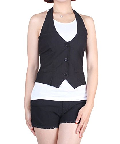 Fashion Secrets Women Halter Waistcoat Business Work Suit Vest (Small)