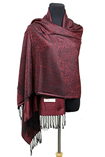 Fashion Secrets Women Paisley Pashmina Silk Solid Long Soft Scarf Wrap Shawl