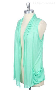 Women`s New Sleevless Open Draped Rayon Cardigan Vest with Pocket