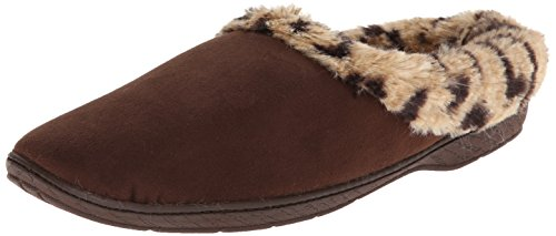 Dearfoams Women's Microsuede Leopard Trim Flat, Espresso, Medium/7-8 M US
