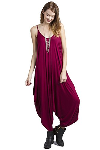 Solid Women Harem Overall Summer Spagehtti Straps Jumpsuit Romper (Large, Magneta)