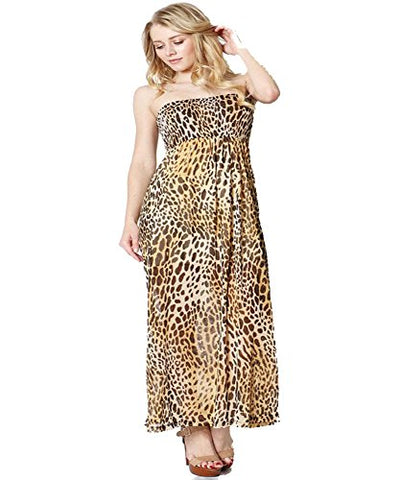 Fashion Secerts LEOPARD Animal Print Long Summer Dress Sleevless Smocked Top