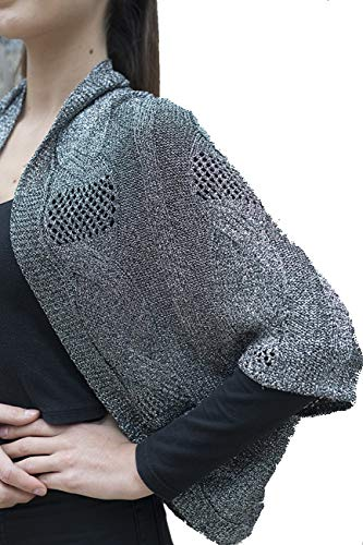 metallic sweater bolero shrug cardigan poncho silver