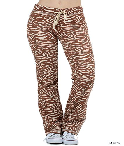 Fashion Secrets Women`s Zebra Leopard Printed Fleece Lounge Pants