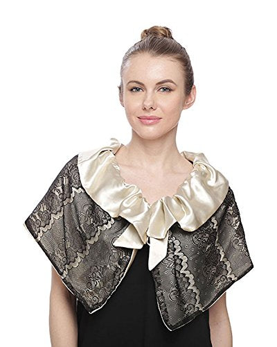 Fashion Secrets Women Fur w Satin Bow/Lace & Satin/Reversible Capelet Jacket Shrug Bolero