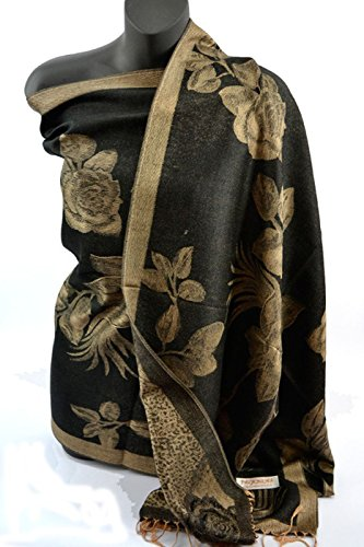 Fashion Secrets Women`s Paisley Floral Peacoke Pashmina Silk Long Soft Scarf Wrap Shawl