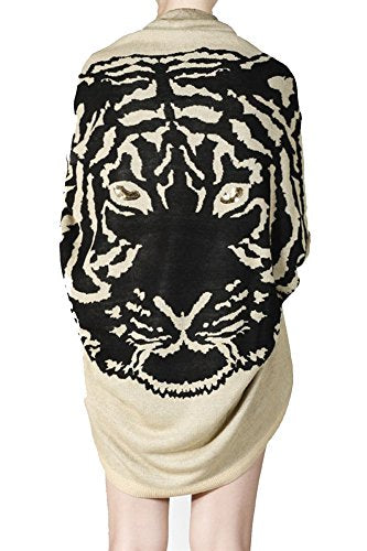 Womens Tiger Animal Print Sweater Loose Cardigan (Small, Taupe = Black)