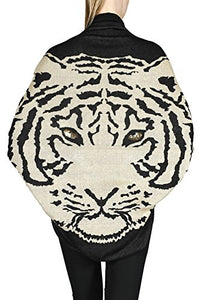 Womens Tiger Animal Print Sweater Loose Cardigan (Small, Black - Taupe)