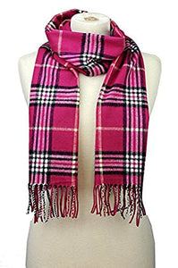 Fashion Secret Soft Checked Plaid Cashmere Feel with Twisted Fringe Scarf Wrap Shawl