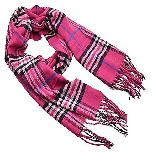 Fashion Secrets Plaid Cashmere Feel Soft Oblong Scarf Neck Wrap W Fringes Ends