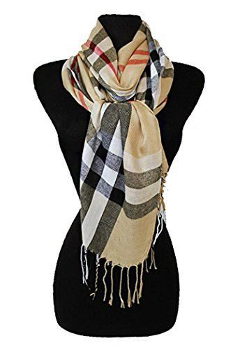 Fashion Secrets Women Super Soft Long Checked Plaid Pashmina Wrap Shawl Scarf