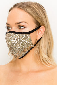 Made In USA Face Mouth Mask Cover Bling Bling Khaki Glitter Sequins Mask