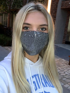 Face Mouth Mask Cover Silver Bling Bling Glitter Sequins Mask