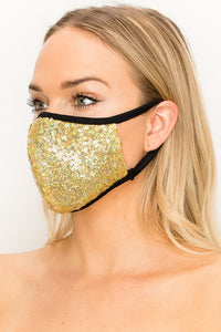 Made In USA Face Mouth Mask Cover Bling Bling Gold Glitter Sequins Mask
