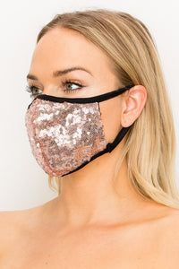Made In USA Face Mouth Mask Cover Bling Bling Rose Glitter Sequins Mask