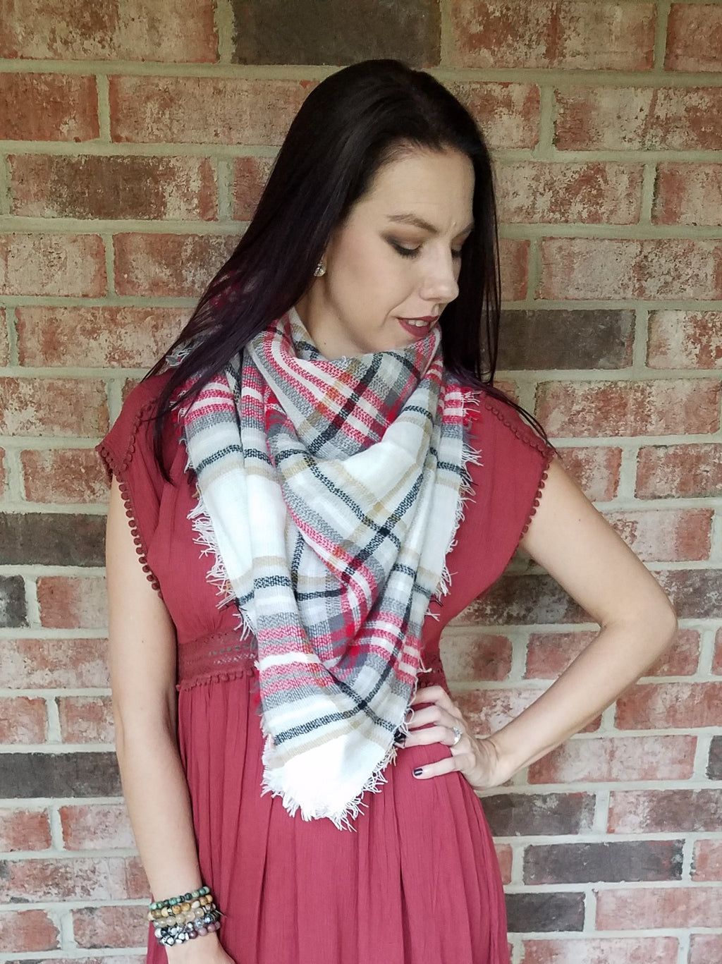 Blanket Scarf - Pop of Red