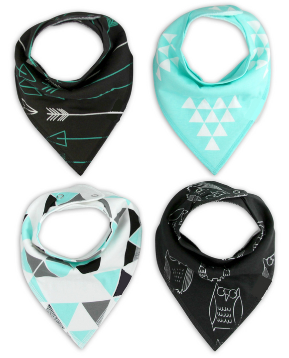 Bandana Bibs 4 pack - Owls & Arrows