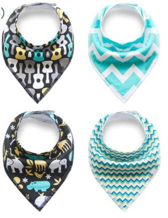 Bandana Bibs 4 pack - Jungle Music