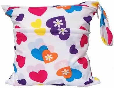 Waterproof Wet Bag - Coloured Hearts