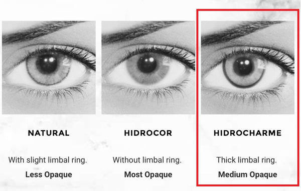 The Solotica Hidrocharme Colour has a STRONG limbal ring,