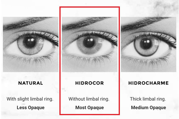 The Solotica Hidrocor Colour has NO limbal ring,